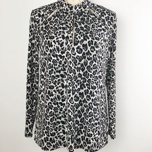 3 for $25 I Cato  Blouse Top Leopard Black White M